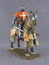Knight Toy Soldier Medieval 1/32 Mounted Hospitaller with Sword Painted Horseman