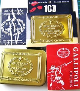 Gallipoli Golden Tin Case Anzac Play-Learn-Remember Playing Cards  2nd Issue NEW