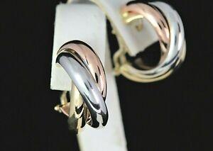$2,550 ITALY 14K Yellow Rose White Gold Trinity Style Omega Back Hoop Earrings