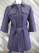 Gap Wool Coat Button Front With Belt Purple Women's Size Small Nice!