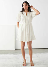 LOS ANGELES ATELIER & other stories FRILLED PUFF SLEEVE White MINI DRESS - XS
