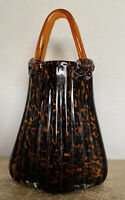 New Sleek Handblown Art Glass Tote Bag Vase Decor Multicolored Applied Handles