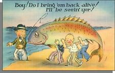 40's Comic Postcard #C271 - (Giant Fish) Do I Bring 'em Back Alive!