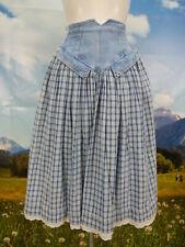 Trachtenrock blau Baumwolle mit Karo und Jeansbesatz prima Trachten Rock Gr.34