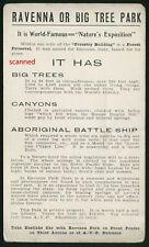 Postcard,Advertising Ravenna,Big Tree Park,Seattle,Washington,Alaska,Yukon,1909