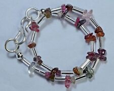 "N-1935 Natural Sapphires Gemstone Uncut Tumble Chips Beads 13Ct 7"" Bracelet $"