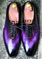 Chaussures à lacets en cuir violet fait à la main pour hommes