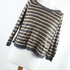 Topshop Brown Striped Cotton Blend Womens Jumper Size 12