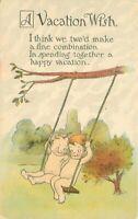 Artist impression C-1915 Kewpie swing romance comic Humor Postcard 20-2795