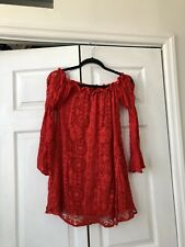 For Love And lemons crochet Off Shoulder Dress red XS new