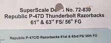 1/72 SuperScale Decals 72-830 Republic P-47D THUNDERBOLT RAZORBACKS mint