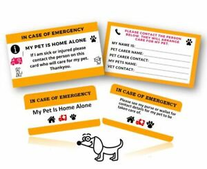 Home Alone Pet Alert Purse Wallet Cards x 2 Key Fob x 2 In Case of Emergency ICE