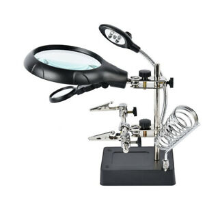 Adjustable Soldering Iron Magnifier LED Lamp Stand Welding Workbench Repair Tool