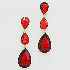 18  K  GOLD PLATE RED  triple crystal tear drop  evening earring be3