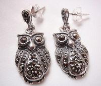 All Seeing Wise Owl Marcasite Dangle Stud Earrings 925 Sterling Silver