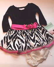 Bonnie Jean Baby Black Zebra & Fuchsia Pink Dress Infant Girl Size 12 Months