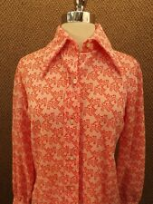 Novelty Vtg 70s NOS NEW Sears Red Poly Knit Cheetah Cats Kittens Casual Shirt 12