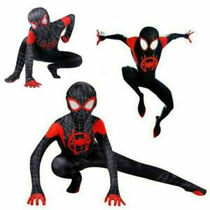 Spider Man Into the Spider Verse Costume Kids Boys Miles Morales Cosplay Zentai