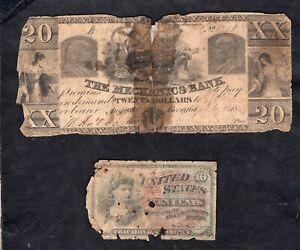 Set of 2 Banknotes United Staes Fractional and Obsolete Poor