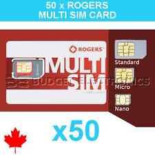 50pcs Rogers Triple Format Nano Micro Regular Standard Sim Card 4G LTE Canada