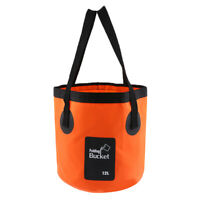 Folding Bucket Water Container Bag for Outdoor Camping Fishing 12L, Orange