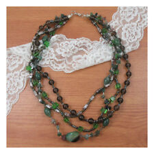"18"" Necklace Costume Jewellery Green Mixed Beads Crystal Stone Boho Fashion 233"