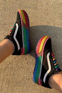 Vans Old Skool Stacked Platform Glitter Skate Shoes Size 7 Black Rainbow