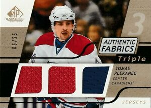 2008-09 SP Game Used Authentic Fabrics Triple Jerseys Gold Tomas PLEKANEC 06/25