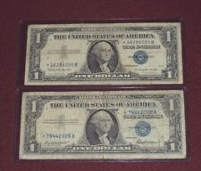 LOT OF 2,1957-1957B STAR NOTES BLUE SEAL $1 DOLLAR  UNITED STATES SILVER CERTS..