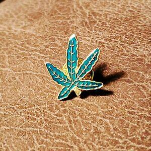 Marijuana Leaf Lapel Pin Enamel Hat Cap Pin Button Cannabis Gold Green Weed NIP