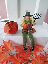 Resin Harvest, Fall Scarecrow with Pumplin & Pitchfork Shelf Sitter, New
