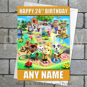 Animal Crossing birthday card. 5x7 inches. Personalised, plus envelope.
