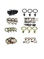30mm 38mm Strong Metal Curtain Rings Hooks with Eyes SILVER Brass Gold Black UK