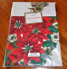 NEW Christmas Holiday Tablecloth 52 x 70 Oblong Fabric Poinsettias