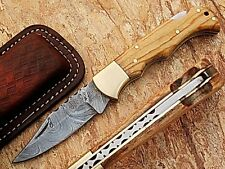 Handmade Olive  Wood Handle 6.5''  Damascus Steel Folding Pocket Knife /Case