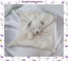 Doudou Nicotoy Ours Peluche Plat Carré Blanc Bandana Oreilles Taupe Simba Dickie