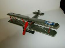 Vintage Ww1 or Ii Green Military Biplane Barnstormer Metal Model Plane, Folk Art