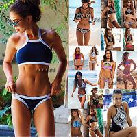 2pcs Sexy Womens Push Up Beach Swimwear Triangle Bra Bikini Set Bathing Swimsuit