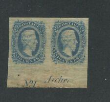 1864 Confederate States Civil War Postage Stamp #12 Plate Pair Partial Imprint