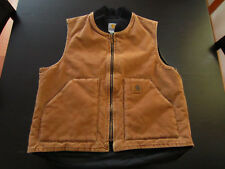 Vintage Men's Carhartt Insulated Brown Vest Size Large