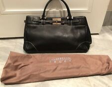 LAMBERTSON TRUEX-BLACK LEATHER SATCHEL/HANDBAG W/DUSTBAG-EXCELLENT USED COND!