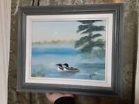 Folk Art Original Primitive Painting Vintage Signed Framed Loons or Ducks Lake