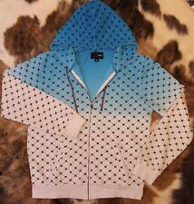 HURLEY Womens Hoodie Blue White Ombré W /Thumb Holes Zip-up Kangaroo Pocket Sz M