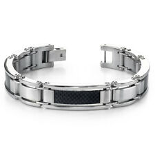 Bold & Beautiful Mens Stainless Steel Carbon Bracelet