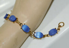 """Vintage Sky Blue Moonglow Lucite Thermoset Scarab Style Gold 7"""" Bracelet 3h 28"""