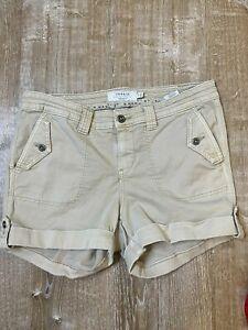 TORRID Military Shorts Khaki Cuffed Womens Size 14 Stretch Cotton 3.5 Inseam EUC