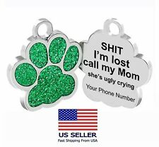 Personalized Pet Dog Sparkly Paw Tags ID Engraved Name Custom Puppy Collar