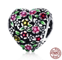 100% 925 Sterling Silver Valley Of Flowers Heart Beads Charm pandora