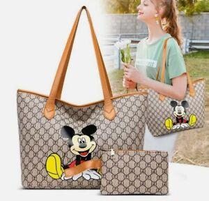 2PCS Mickey Mouse Women Large Capacity Handbag Shoulder Tote Bag FREE SHIPPING