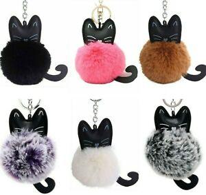 Cat Keyring Gift Fluffy Pom Pom Black White Bag Charm Ladies Jewellery Key Ring